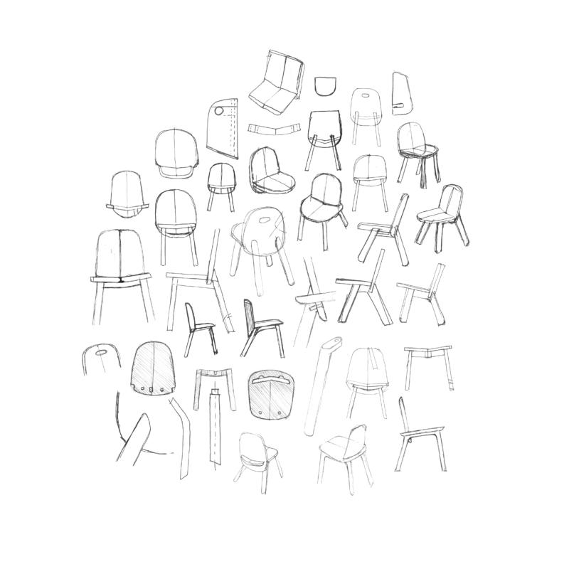Skizzen für den Stuhl «Öhi»